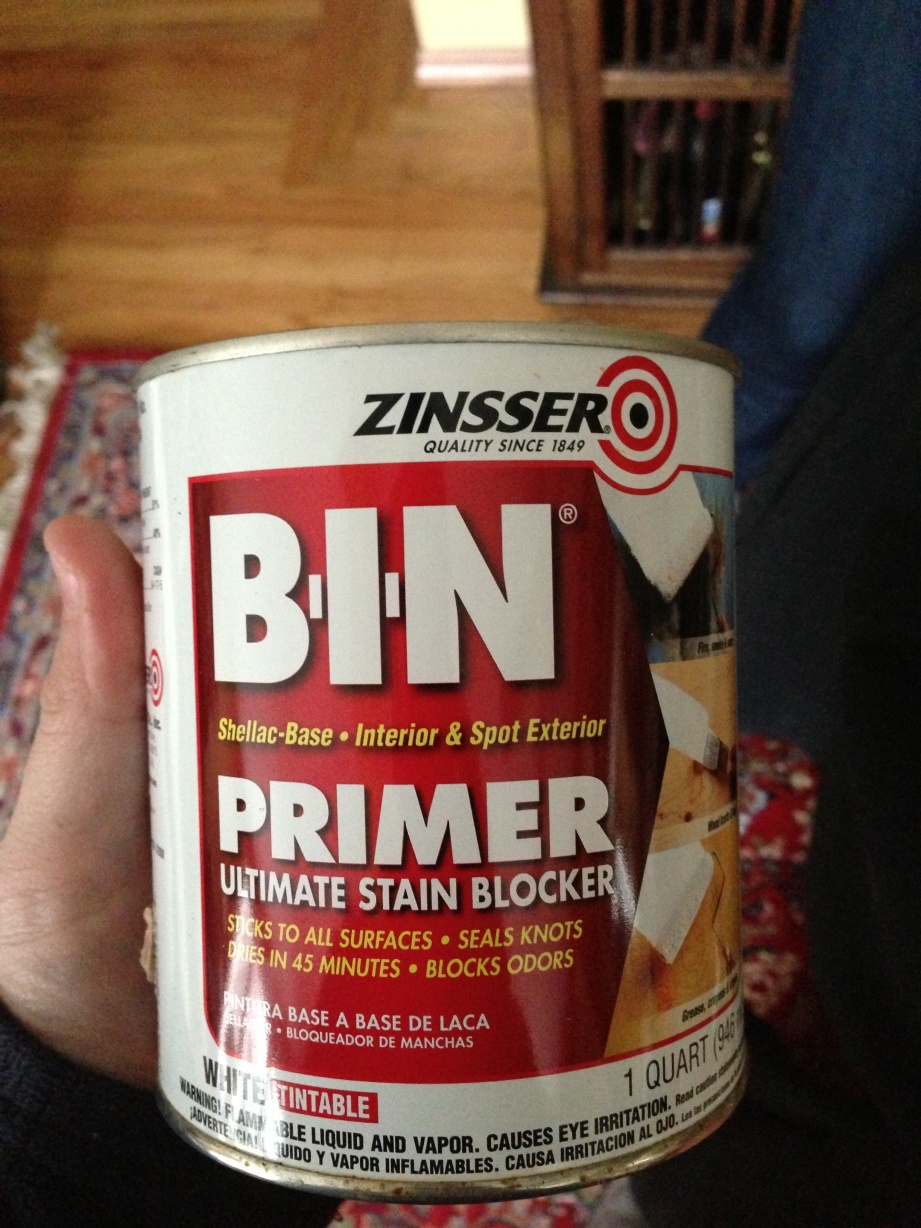 This is the primer I used. It's recommended for new wood, as well as sealing knots and blocking odors.