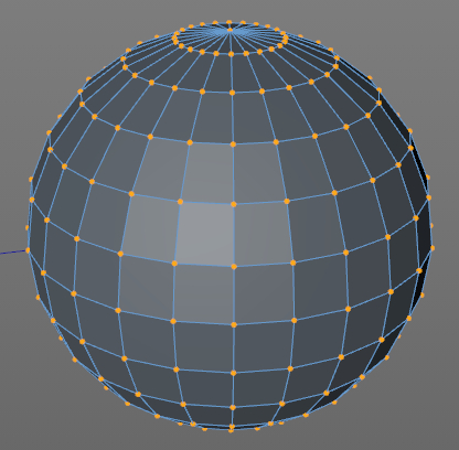Sphere made up of many polygons.