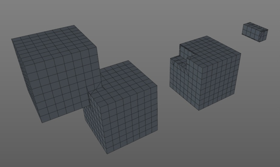 Same cubes different boole: Union - Subtract - Intersect
