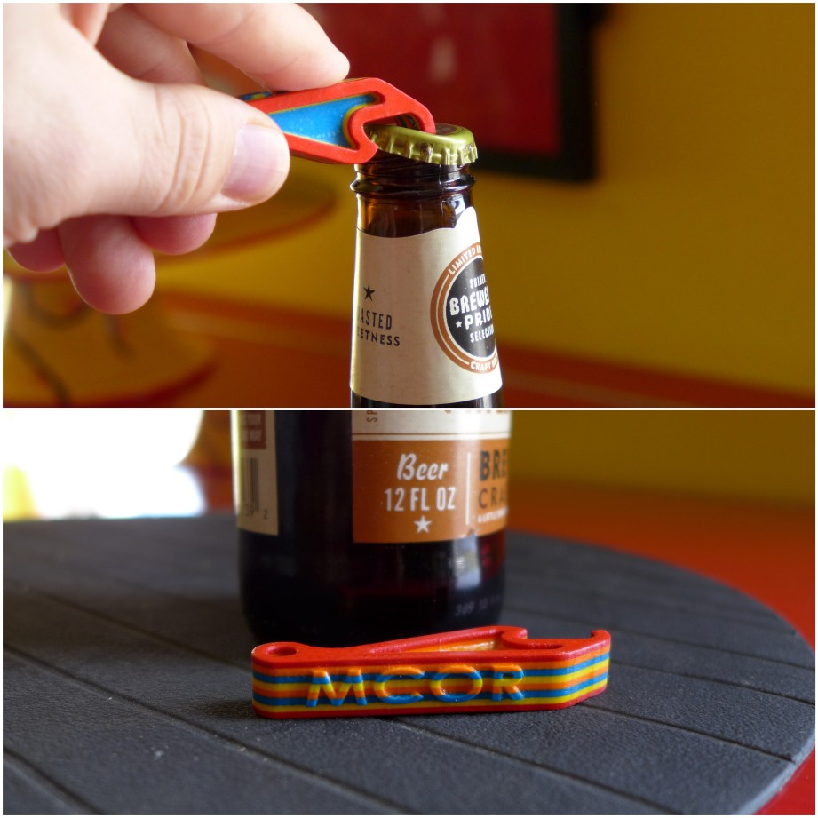 Promo bottle opener was sealed and very strong. Stripes created by alternating colored paper.