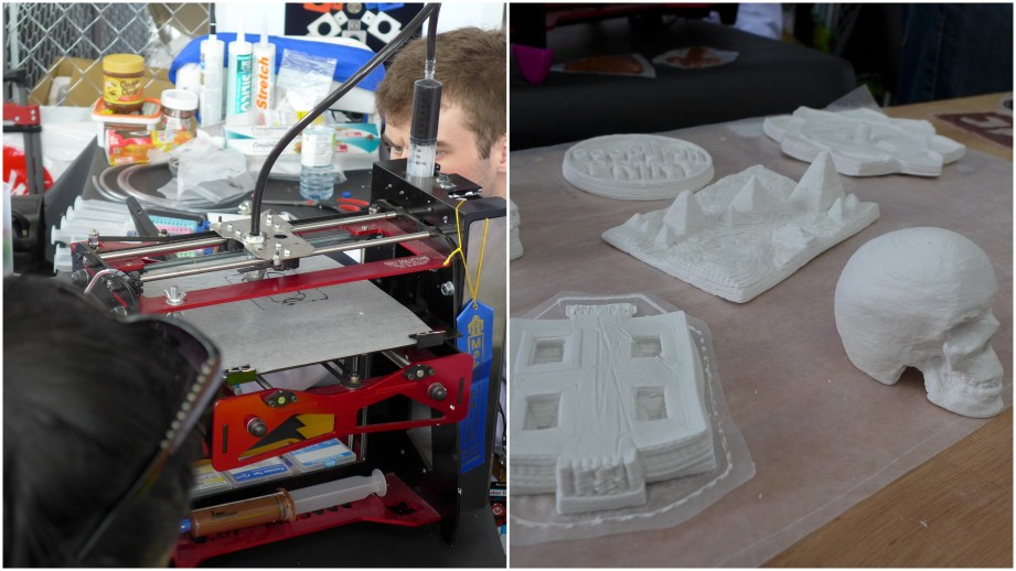 Paste printer with plaster prints.