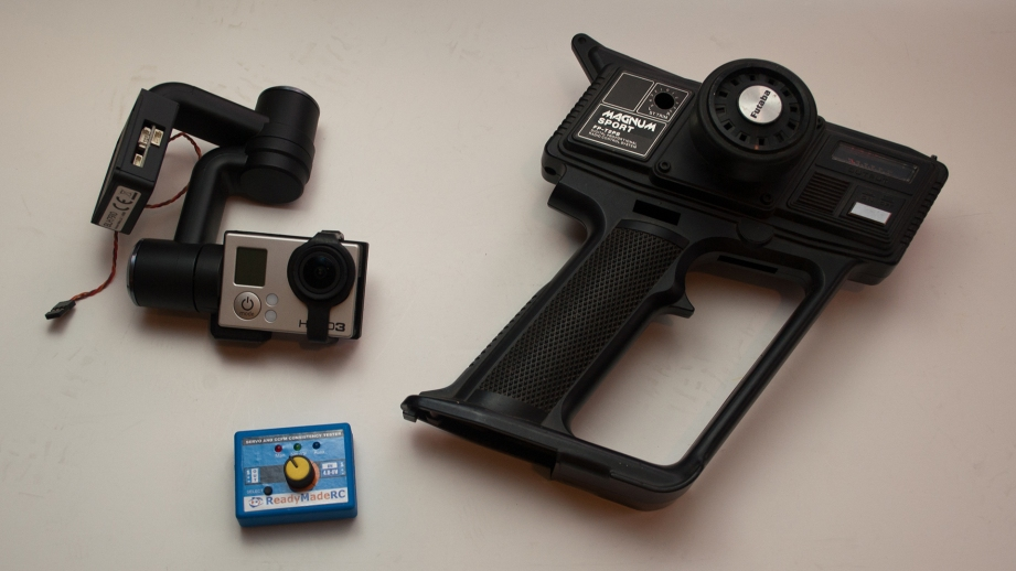 The basic parts needed for this project are a complete gimbal assembly, a surplus pistol grip transmitter case and a servo driver.