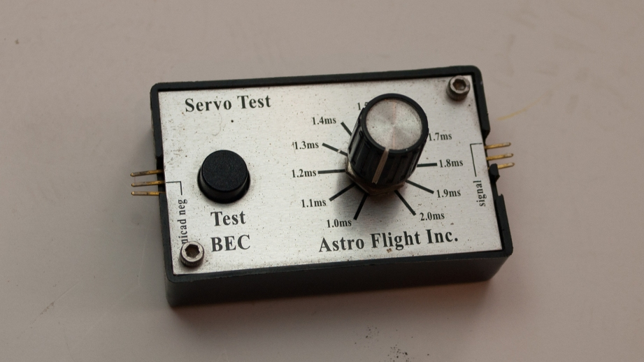 Although I purchased a servo driver specifically for this project, I decided to use my well-traveled Astro Flight unit instead. Any servo driver will do the job.