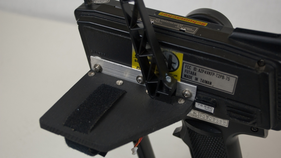 """This shelf made of ¼"""" plywood provides a mounting surface for the gimbal base and the phone clamp."""