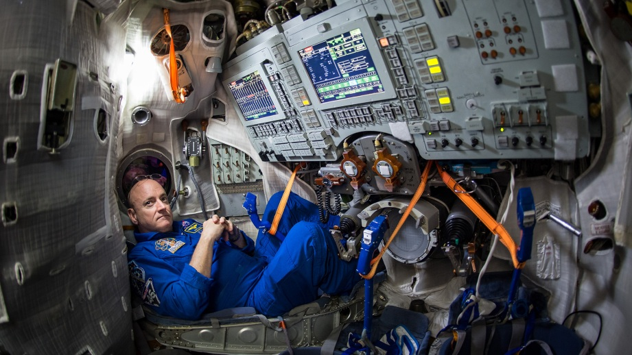 Scott Kelly is seen inside a Soyuz simulator at the Gagarin Cosmonaut Training Center, in preparation for a yearlong stint on the International Space Station. Credit: NASA