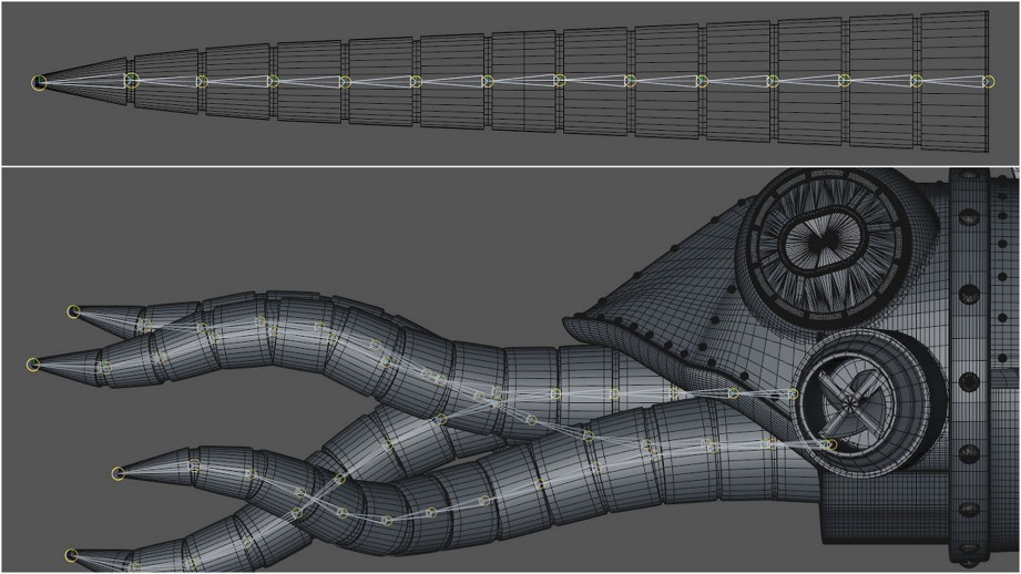 Tentacle modeled straight with joint system for posing
