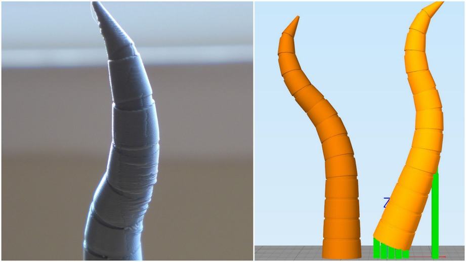 Sad droopy tentacle from position 1 vs position 2 with less overhang
