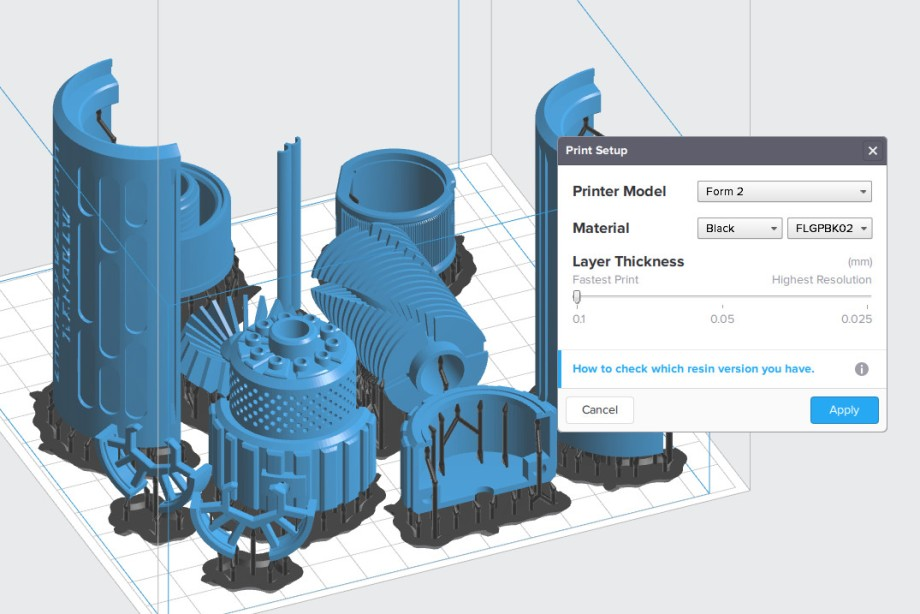 PreForm print layout - select material and resolution