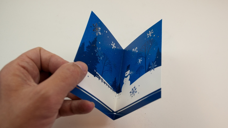 Fold the panel in half, noting where you want the card's decorations to appear on the completed airplane.