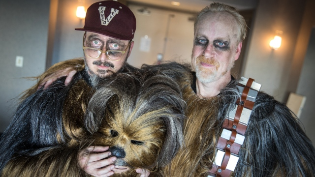 Adam Savage and John Hodgman at Comic-Con as Chewbaccas!