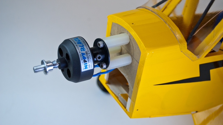I like to incorporate new technology into older kits. This brushless motor is much lighter and more powerful than the brushed motor shown on the Cub's plans.