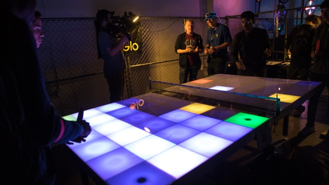 TapGlo Light-Up Ping Pong Table!