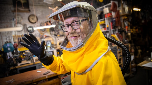 Adam Savage Cosplays the Outbreak Hazmat Suit!