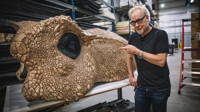 Adam Savage Learns to Vacuum Form Life-Size Dinosaur Skin!